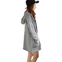 Wholesale Womens Thick Cardigans - Wholesale-New Winter Womens Hand Knitted Hooded Cardigans Gray Thick Full Sleeve Loose Sweaters swea-038