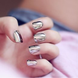 Wholesale Gray Nail Tips - 24pcs Punk Metal Fake Nails Short Metal Smoke Gray False Nails