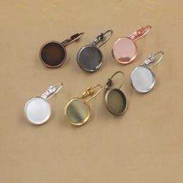 Wholesale Tray Earring Blanks - Mix Fit 10MM 12MM 14MM 16MM 18MM 20MM round earring settings, 13*18MM 18*25MM oval french hook blank earring base, metal earring bezel tray