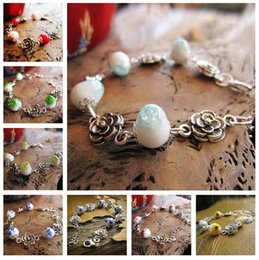 Wholesale National Ceramics - Free shipping Explosive seedling silver national wind handmade ceramic bracelet hand string FB002 mix order 20 pieces a lot Beaded, Strands