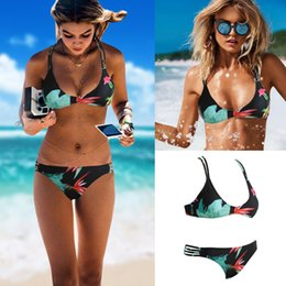 Wholesale Two Pieces Swimsuits - 2017 New Sexy Women Bikini Set Halter Floral Print Wireless Padded Bandage Two Piece Bathing Suit Swimwear Swimsuits Green