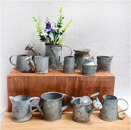 Wholesale Decoration Metal Flower Pot - Galvanized Watering Cans For Small Plants Mini Small Watering Cans Iron Pots Metal Decorative For Garden Home Decoration CCA6480 100pcs
