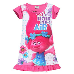 Wholesale Girls Nightgowns - Trolls Children Dress Clothing Summer Dresses Girls Baby Pajamas Costume Princess Nightgown Vestidos Infantis Clothes 5 Styles free shipping