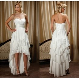 Wholesale Cheap High Low Beach Dresses - Cheap High Low Beach Wedding Dresses 2017 Ivory Tiered Chiffon Sweetheart Corset Custom Made Short Bridal Gowns under 100