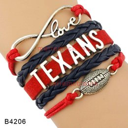 Wholesale Blue Infinity Bracelets - Customizable High Quality Infinity Love Football Team Texans Wrap Bracelet Navy Blue Red Leather Cuff Sports Gift Drop Shipping