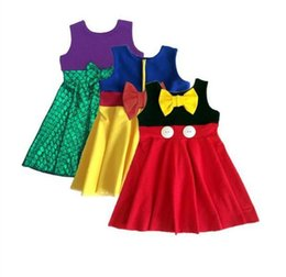 Wholesale Children Cotton Vests - Girl Summer mermaid Dress Children Cartoon 3 style Cinderella Minnie fish scale bowknot sleeveless vest princess dresses