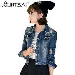 Wholesale Casacos Femininos Plus Size - Wholesale- New Plus Size 5XL Denim Jacket Women 2016 Spring Fall Short Jeans Jacket Women Fashion Hole Woman Coat casacos femininos
