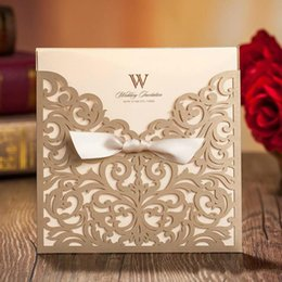 Wholesale Chinese Bows - Vintage Lace Wedding Invitation Cards Laser Cut Gold Hollow Flowers Personalized Ribbon Bow Knot Wedding Invitations Cards With Envelope