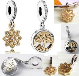 Wholesale Round Sterling Bead - Authentic 925 Sterling Silver Bead Charm Gold Family Roots Tree Of Life Snow two-tone locket Pendant Bead Fit Women Pandora Bracelet Bangle