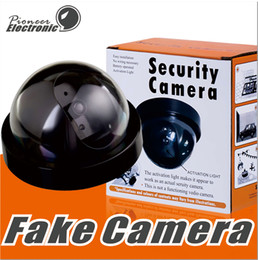 Wholesale Outdoor Dummy Dome Cctv Cameras - Fake Security Camera Indoor Outdoor Dummy Dome CCTV Camera IR CCD Camera Flahsing RED LED Light with Retail package
