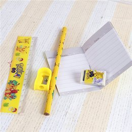 Wholesale Clear Pencil Cases Wholesale - Newest Pikachu stationery set for Students Office & School Supplies Poke Go Cases Bag (1 book+2 pencils+1 Ruler+1 eraser+1 sharpener +1 bag)
