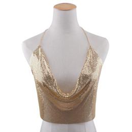 Wholesale Ordering Bra Wholesale - Hot Sale Women's Sexy Chain Bra Metal Swimming Vest Sequin Crop Top Halter V Neck Camis Tops Sleeveles Beach Bra