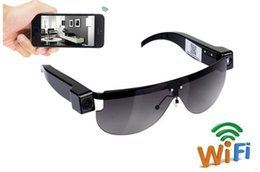 Wholesale Ip Video Recording - Wireless Wifi sunglasses mini Camera Sunglasses P2P IP camera HD 720P WiFi Eyewear Voice Video Recording glasses mini DV DVR