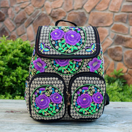 Wholesale Tie Dye Backpacks - New Arrival Vintage Embroidery Backpacks Bags Boho Hobo Hmong Ethnic Shoppers Bag Women's Shoulder Messenger Bags Embroidered Backpack
