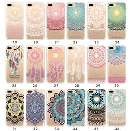 Wholesale Colourful Paintings - Colourful Landscape Painted Creative Henna White Floral Paisley Flower Soft TPU Gel Transparent Cover Case Shell For iPhone X 8 7 Plus 6 6S