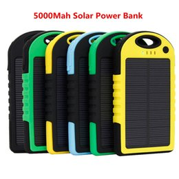 Wholesale Ipad Battery Bank - 5000mAh dual usb solar power bank portable powerbank waterproof battery power charger solar panel for iPhone 7 6 plus iPad mobile phone