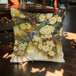 Wholesale Traditional Chinese Painting Flowers - Ancient Chinese Style Traditional Chinese Painting Birds Green Purple Red Flower printed pillow Home Sofa linen velvet cushion cover 45*45cm