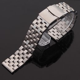 Wholesale Watchband 26mm - New Matte Watchband stainless steel 18mm 20mm 22mm 24mm 26mm Fashion watches strap bracelet silver with safety folding buckle deployment