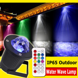 Wholesale Square Rgb Led - LED Water Ripples Light 7COLOR RGB LED Laser Stage Lighting Wave Ripple Shining Effect Landscape led lawn lamp With Remote