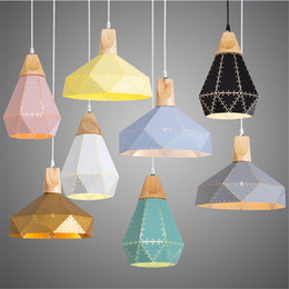 Wholesale Cut Lamp - Nordic Loft Industrail Laser Cutting Pendant Lamp Bedroom Restaurant Droplight Modern Scandinavian Wood Hanging Light for Living