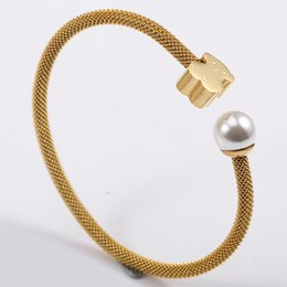 Wholesale Gold Filled Chain Bracelet - TL Stainless Steel Bear Bangle Bracelet 3 Colours Never Fade Water Pearl Hot Selling For Women