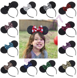 Wholesale Mice Ears Headband - New Big Bowknot Sequins Headband for Girl and women Sell like hot baby girls Mouse Ears Hair Hoop Headwear party birthday Hair Accessories