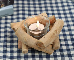 Wholesale Wood Table Desk - Hot Wooden Candlestick Candle Holder Table Desk Nice Wedding Decoration Props Decoration Furniture Romantic Candlelight Dinner