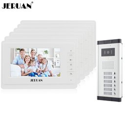 Wholesale Visions Apartments - JERUAN 7 inch Video door phone Intercom System Apartment Doorbell intercom 6 Monitors 700TVL IR Night Vision Camera In stock