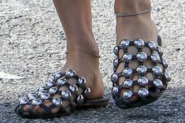 Wholesale Women Shoes Mules - 2017 Runway Fashion Leather Sandalias Mules Luxury Slip On Beading Caged Women Amelia Studded Flat Slide Sandals Shoes Women