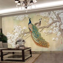 2019 blocs en bois anciens Gros-photo papier peint moderne art peinture salon chinois chambre TV toile de fond oiseau paon Magnolia grande murale papier peint