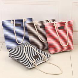 Wholesale Wholesale Coffee Bags Handbags - Fashion Canvas Women Zipper Handbag Unisex Stripe Strap Coffee Shopping Bag High Quality Casual Tote Shoulder Bag Lady Bags