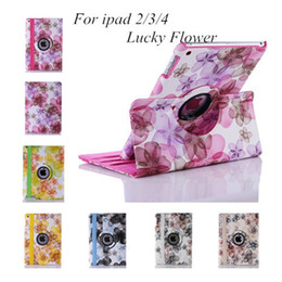 Wholesale Floral Ipad Cover Case Stand - Lucky Flower PU Leather Case 360 Degree Rotary Rotating Smart Cover for 9.7 iPad 6 Air2 5 3 4 7.9 mini 2 Sleep Wake Up Flip Stand Holder
