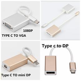 Adaptador usv vga dvi on-line-USB 3.1 Tipo C Para Display Porta DP MINI DP VGA 1080 p HDMI DVI Cabo Adaptador HDTV para Macbook Chromnook 20 PÇS / LOTE