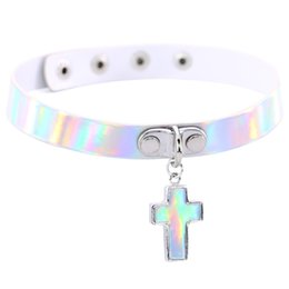 Wholesale Green Laser Cross - Harajuku Cross Charms Pendant Choker Necklace for Women Luminescent Laser Leather Short neck collar Fashion Holographic Jewelry