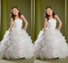 Wholesale Kids Pageant Puffy Gowns - Puffy Lovely Formal Girls Pageant Dresses Children Sequins Beads Floor Length Flower Girls Dresses For Weddings Custom Made Kids Party Gowns