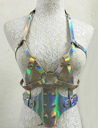 colares removíveis por atacado Desconto Atacado- GARTER COARAR ARREDOR, Shining Sliver destacável ajustável arnês corpo sexy com tiras de couro apertar na cintura em volta do pescoço