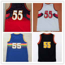 Wholesale Rainbow Jersey - Hot Sale 55 Dikembe Mutombo Basketball Jerseys Blue Red White Rainbow Throwback sports Shirts 100% Stitched With Name