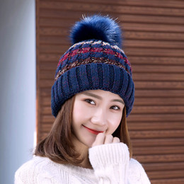 Wholesale Knitted Girls Cloche - 2017 Keep Warm Thin Elegant Women Girl Knitted Hats Warmed Fur Cap Autumn Winter Ladies Female Fashion Hairball Hat SK86