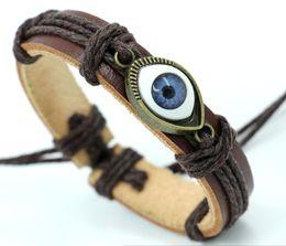 Wholesale Cheap Fashion Wood Jewelry - new genuine leather bracelets devil's blue eye Bracelet punk Handmade Wrap Wristband man woman jewelry cheap charms Fashion
