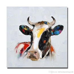 Wholesale Life Size Cows - Colorful Cow decorative animal head,Hand Painted Abstract Modern Wall Decor Cartoon Animal Art Oil Painting Canvas.Mulit size Available C049
