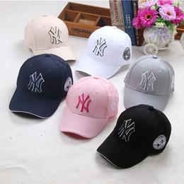 Wholesale Dance Kids - 9 Color children Baseball MLB Cap NY Embroidery Letter Adjustable Snapback Hip Hop Dance Hats kids Outdoor Cap hat B001