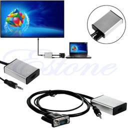 Wholesale Usb Audio Video Output - Wholesale-For VGA To HDMI Output 1080P HD Audio TV AV HDTV Video USB Cable Converter Adapter