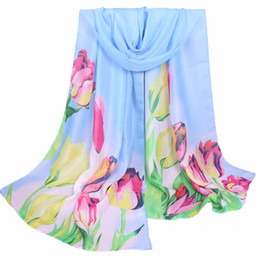 Wholesale Hijab Scarf Flower Print - Wholesale- foulard femme Lovely Scarf Women Ladies Large Flowers Pattern Print Chiffon Scarf Warm Wrap Shawl hijab cachecol feminino hot#yl