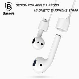 Wholesale Ear Loops Wholesale - Baseus Headphone Earphone Strap For Apple Airpods Anti Lost Strap Magnetic Loop String Rope For 7   7 Plus Silicone Cable Cord