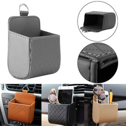 Wholesale Air Bags For Cars - PU Leather Car Outlet Air Vent Trash Box Auto Mobile Phone Holder Bag Pouch Organizer Hanging Box for Car Supplies Car Styling