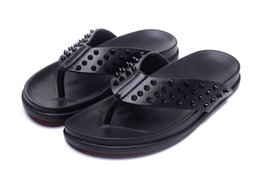 Wholesale Spikes Shoes For Men - Newly Designed Red Bottom Shoes Fashion Slippers With Spikes High Quality Genuine Leather Flip Flops For Men