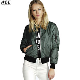 Wholesale Fitted Outerwear - 2017 Spring Autumn Women Thin Jackets Tops MA1 Basic Bomber Jacket Long Sleeve Coat Casual Stand Collar Slim Fit Outerwear