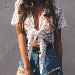 Wholesale Stock Blouses - 2017 Summer New Women Hollow Lace Short Tops Tanks Leisure Cap Sleeves Blouses T Shirts Cheap White Stock Wraps Online FS1975