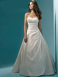 Wholesale Sexy Size 18 Dresses - 2017 Newest In Stock US Size 4-6-8-10-12-14-16-18-20-22 White Ivory Satin Beading Crystal A-Line Wedding Dress Vestido De Noiva WD1019