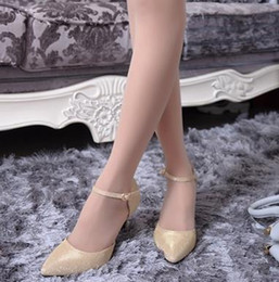 Wholesale Silk High Heel Shoes - 2017 Women Fashion pointed High heels Silver sequins Wedding Shoes Red sexy evening party shoes